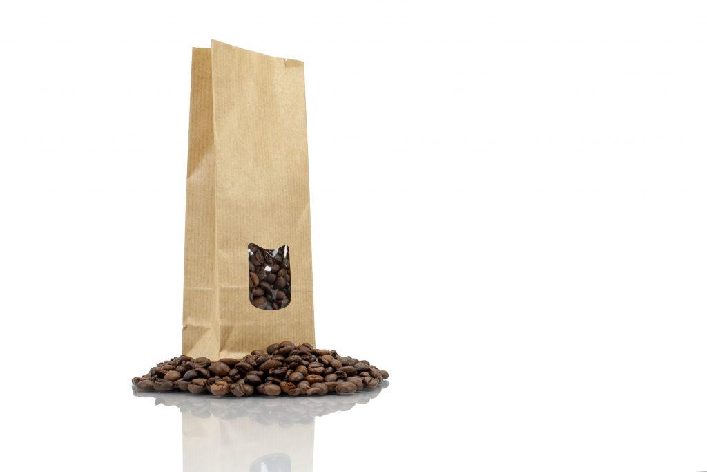 Kraft zakjes met venster voor koffie en thee