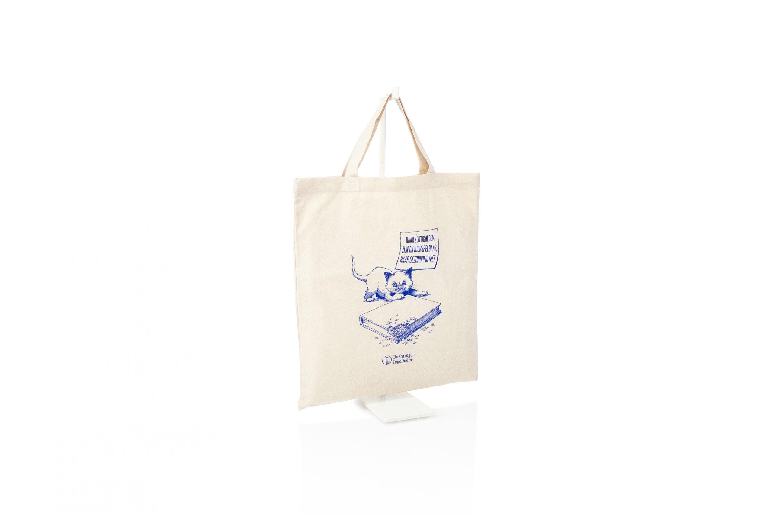 Shopper katoen gepersonaliseerd met logo made in EU OEKOTEX gecertificeerd