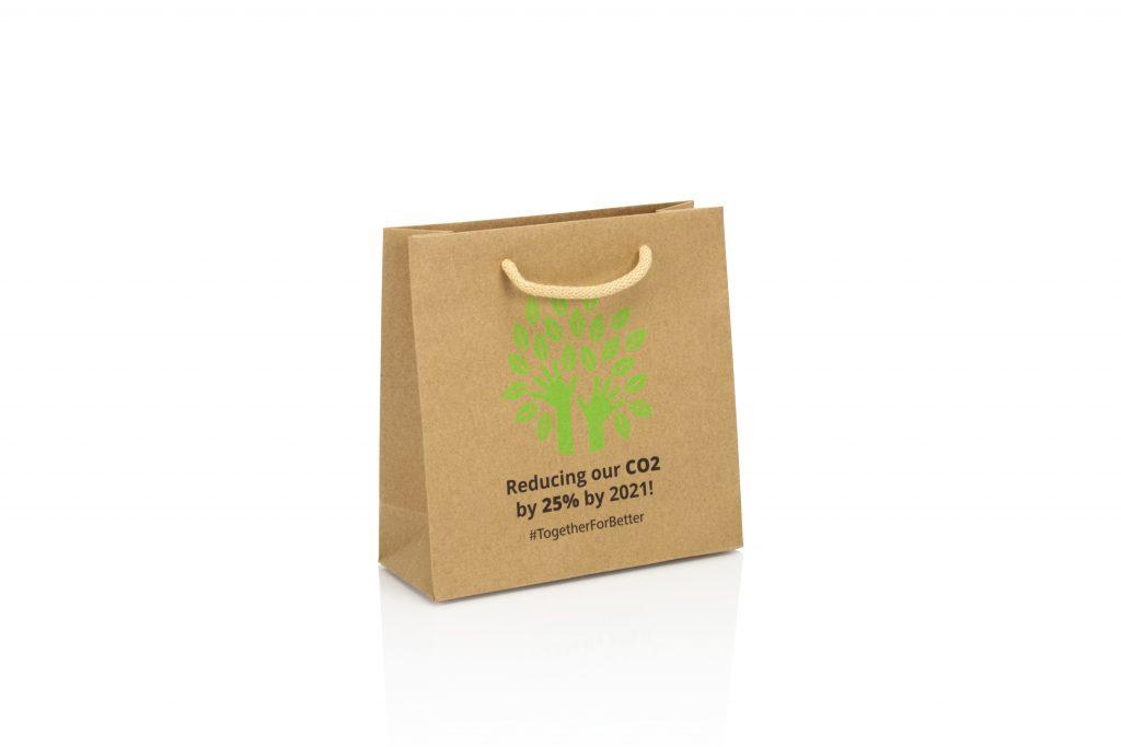 Bruine kraft zak bedrukken met logo voorzien van FSC label
