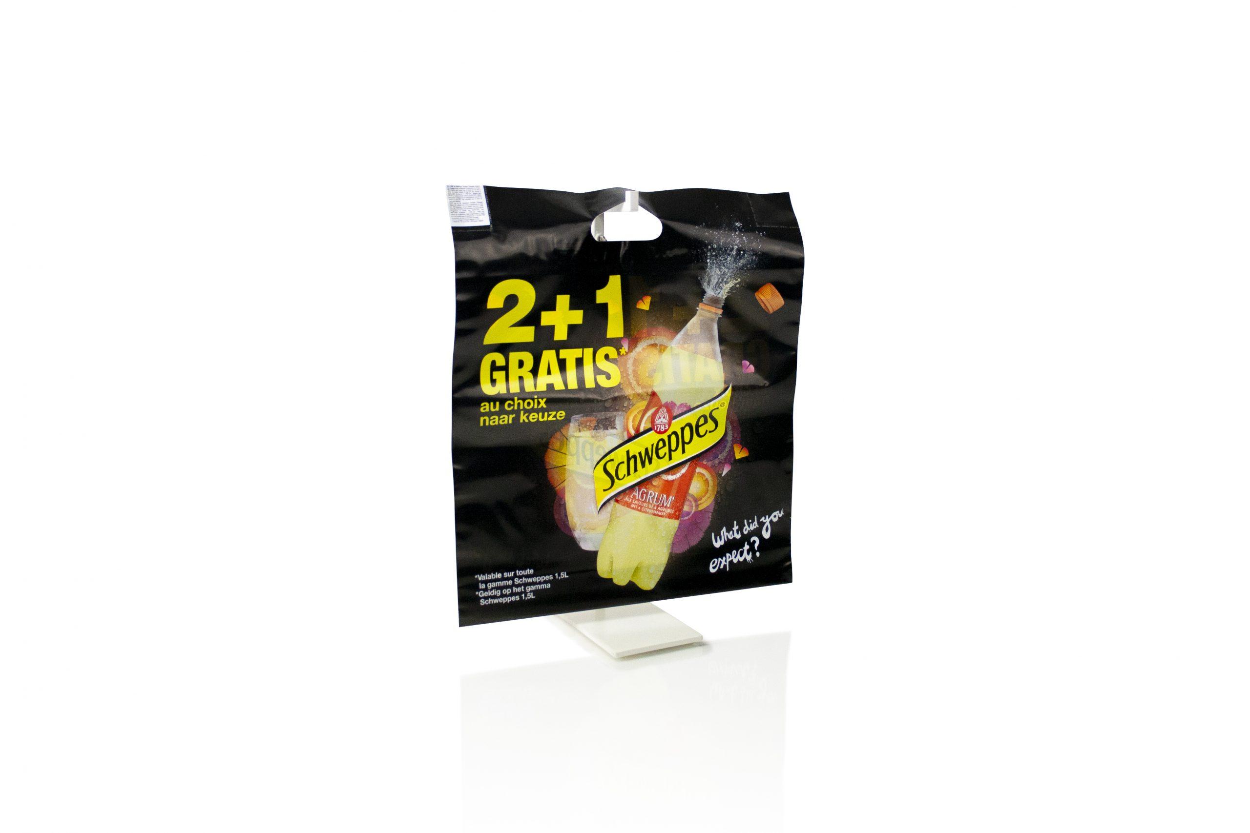 Gepersonaliseerde plastic zakken met uitgekapt handvat voorzien van logo of bedrijfsnaam