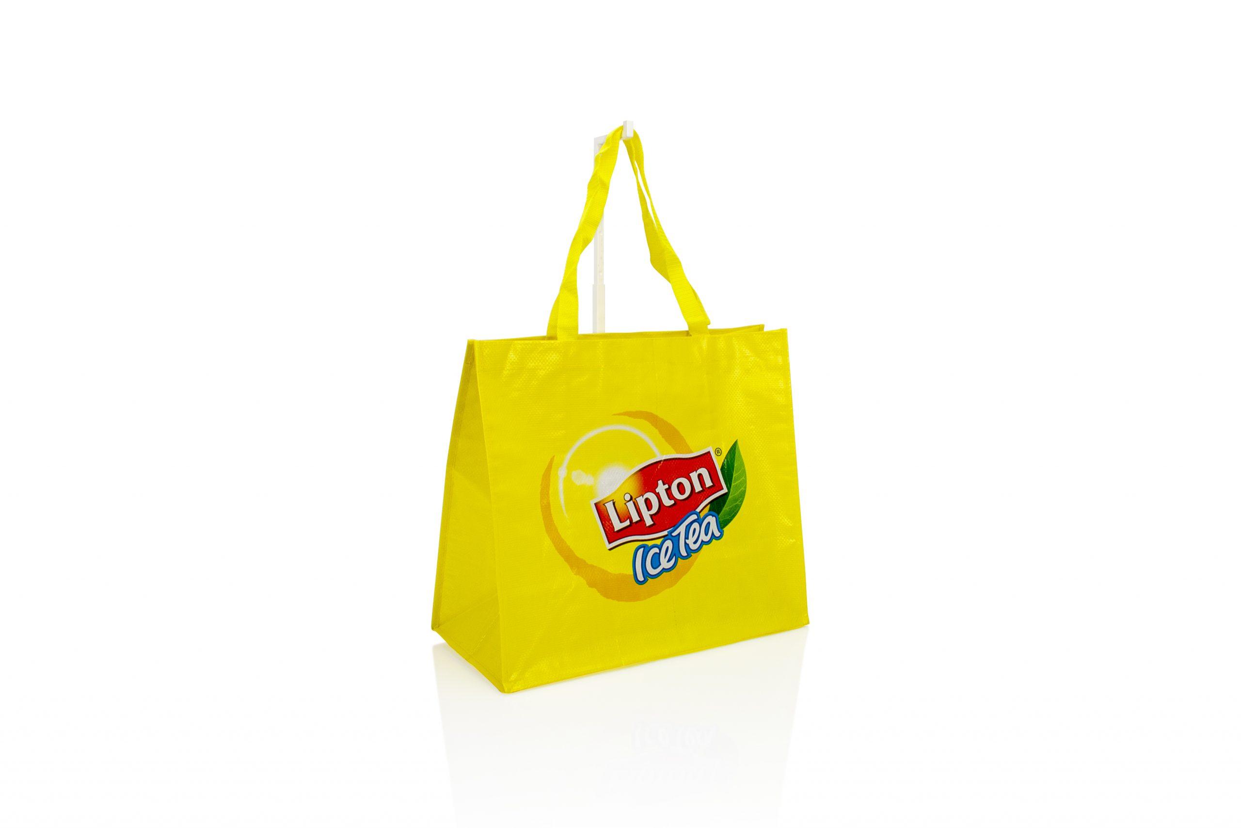 Herbruikbare draagtas woven met logo geschikt voor retail en promo artikel