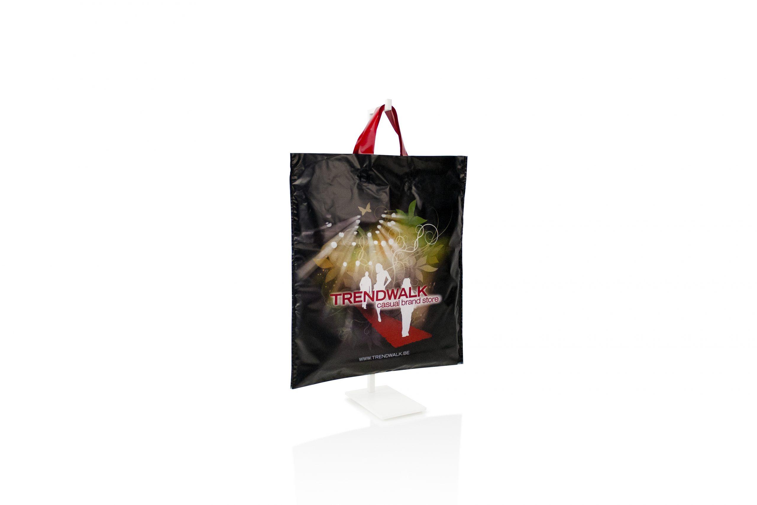 Plastic zak met lushandvat - gepersonaliseerd met bedrijfsnaam of logo