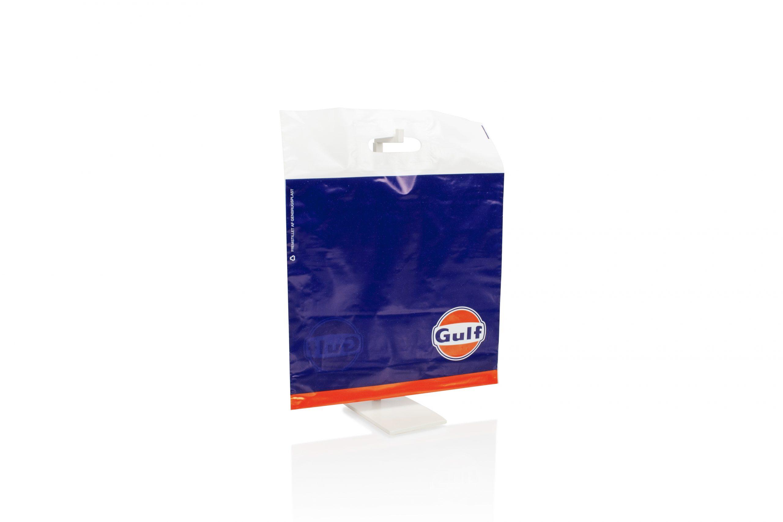 Plastic zak met uitgekapt handvat - gepersonaliseerd met bedrijfsnaam of logo