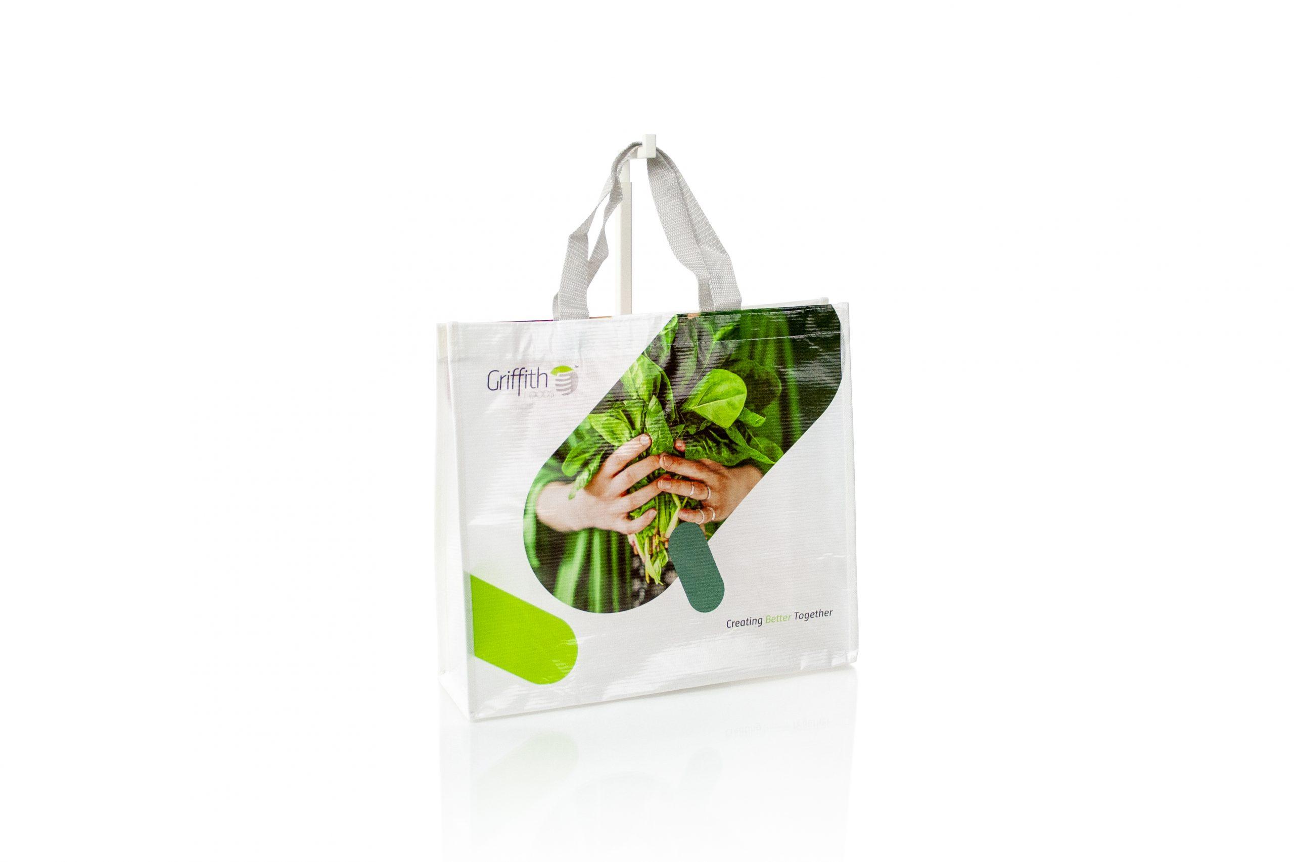 Herbruikbare tote bag in ecologisch woven materiaal